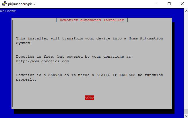 Raspberry Pi installation de Domoticz