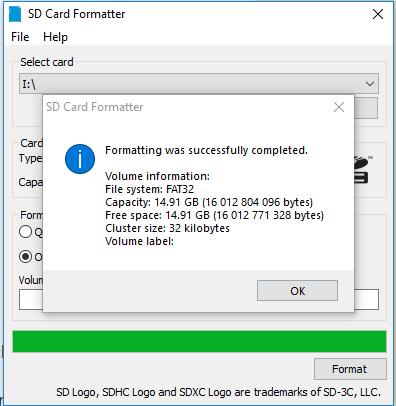 Formattage de la carte avec SD Card Formatter