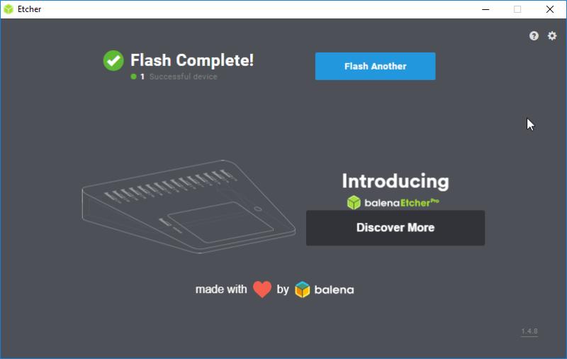 Etcher 1.4.8 Raspbian Flash Complete