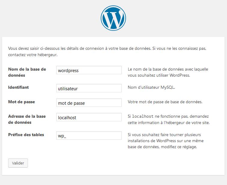 Wordpress installation : accès à la base de données