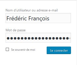 Wordpress installation : connexion
