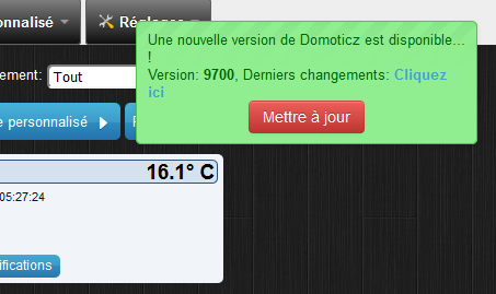 Domoticz - mise à jour - notification 9700