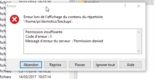 Raspberry WinSCP Permission denied