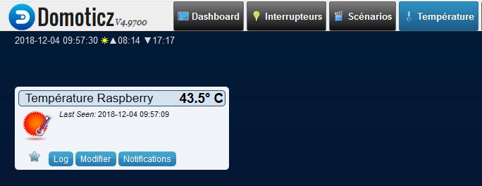 Domoticz 4.9700 - Temérature - Raspberry température