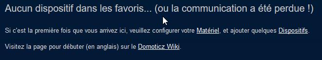 Domoticz - Accueil - Aucun dispositif