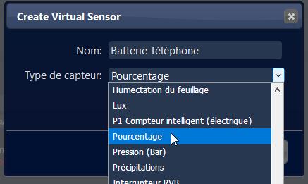 Domoticz 4.10311 - Batterie Téléphone - Dummy - Créer un capteur virtuel - Pourcentage
