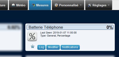 Domoticz 4.10311 - Batterie Téléphone - Mesures