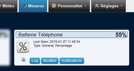 Domoticz 4.10311 - Batterie Téléphone - Mesures à jour