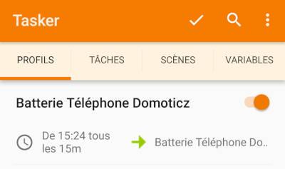Tasker - Profil - Batterie Téléphone Domoticz
