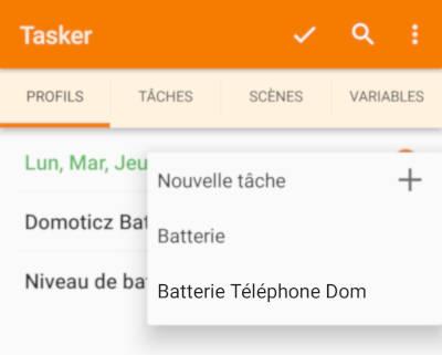 Tasker Profil Choix tâche
