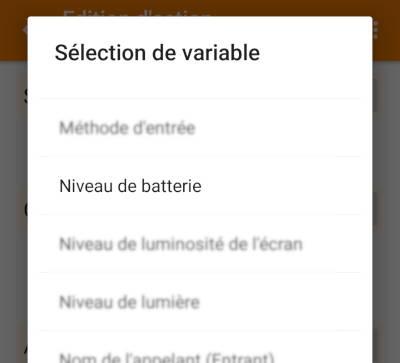 Tasker - Tâche - Réseau - Get HTTP - Attributs - Niveau de batterie